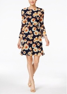 Betsey Johnson Tie-Back Floral-Print Peasant Dress