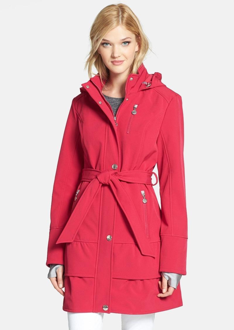 Betsey Johnson Tiered Hem Hooded Trench Coat