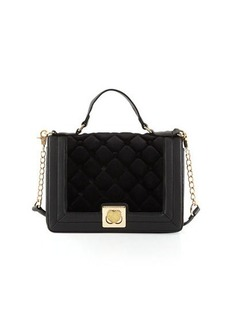 Betsey Johnson Tuft Love Quilted Velvet Shoulder Bag