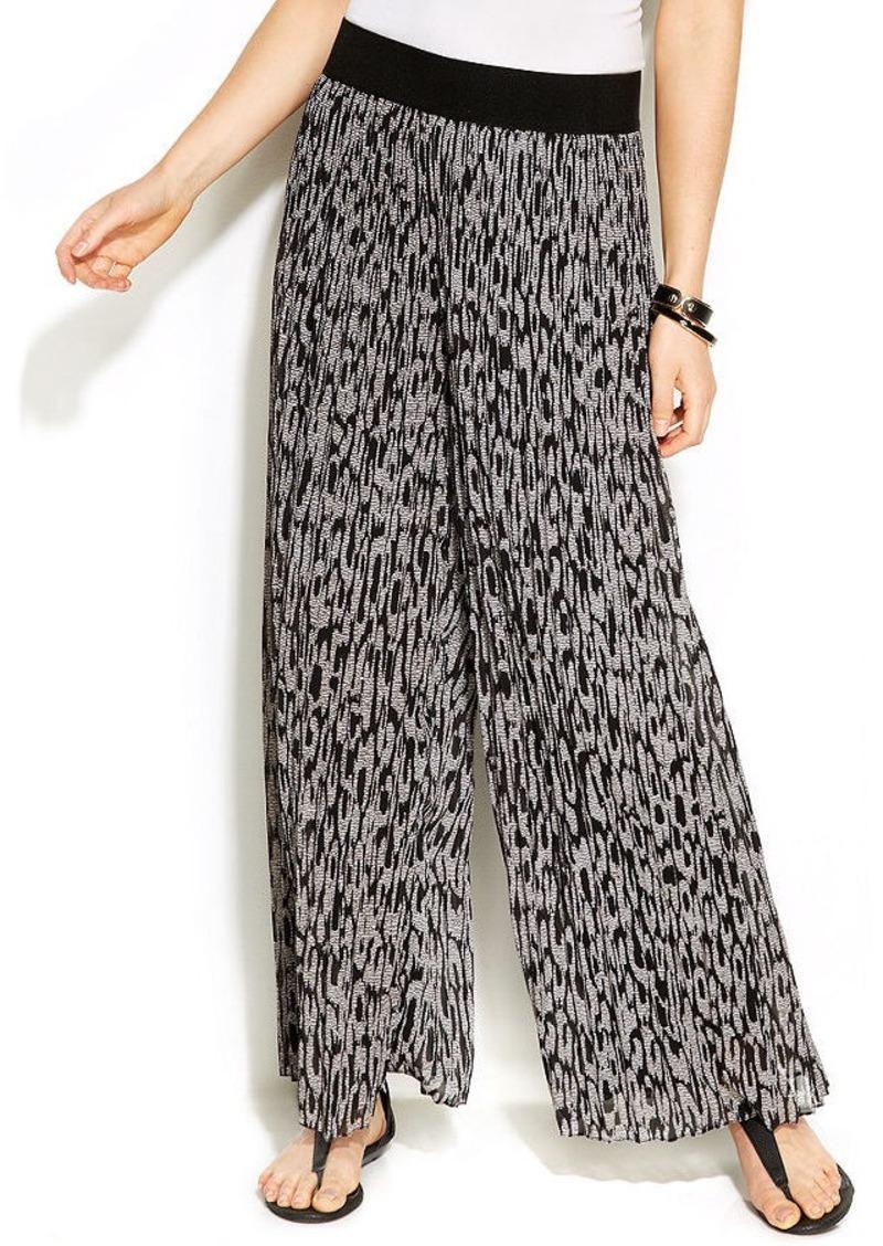 Alfani Petite Wide-Leg Printed Pleated Pants