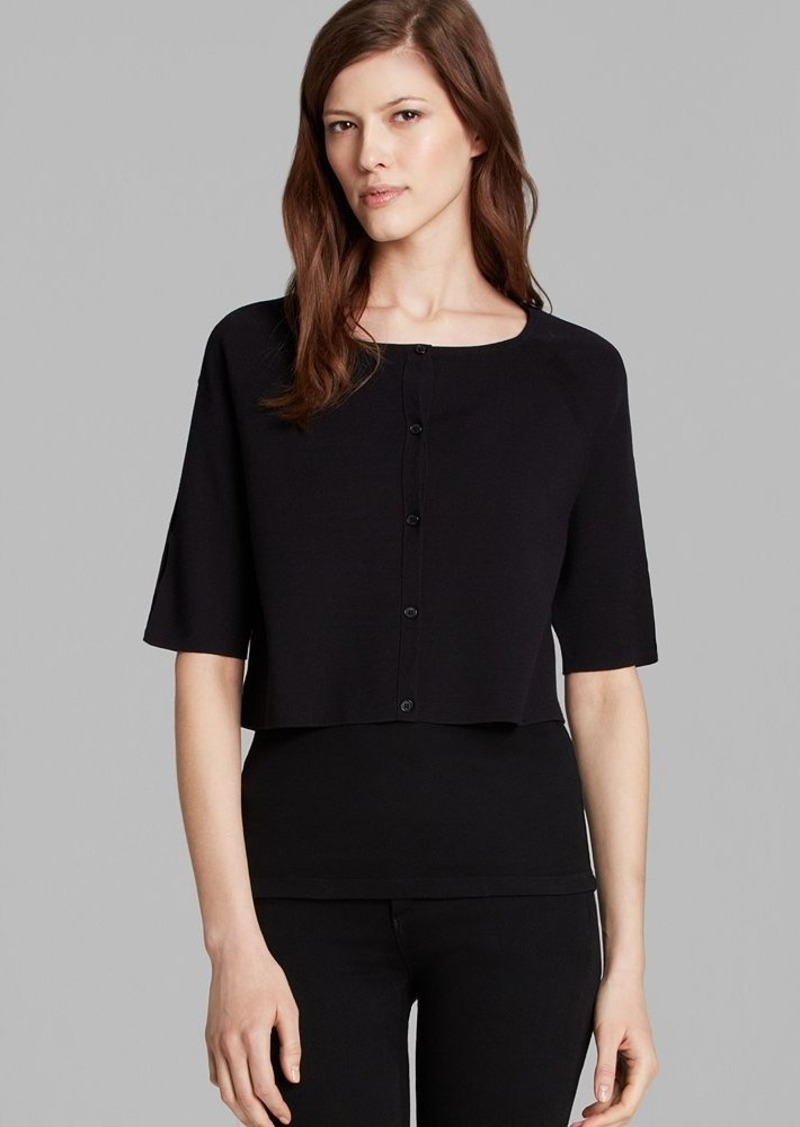 Lafayette 148 New York Elbow Sleeve Cropped Cardigan