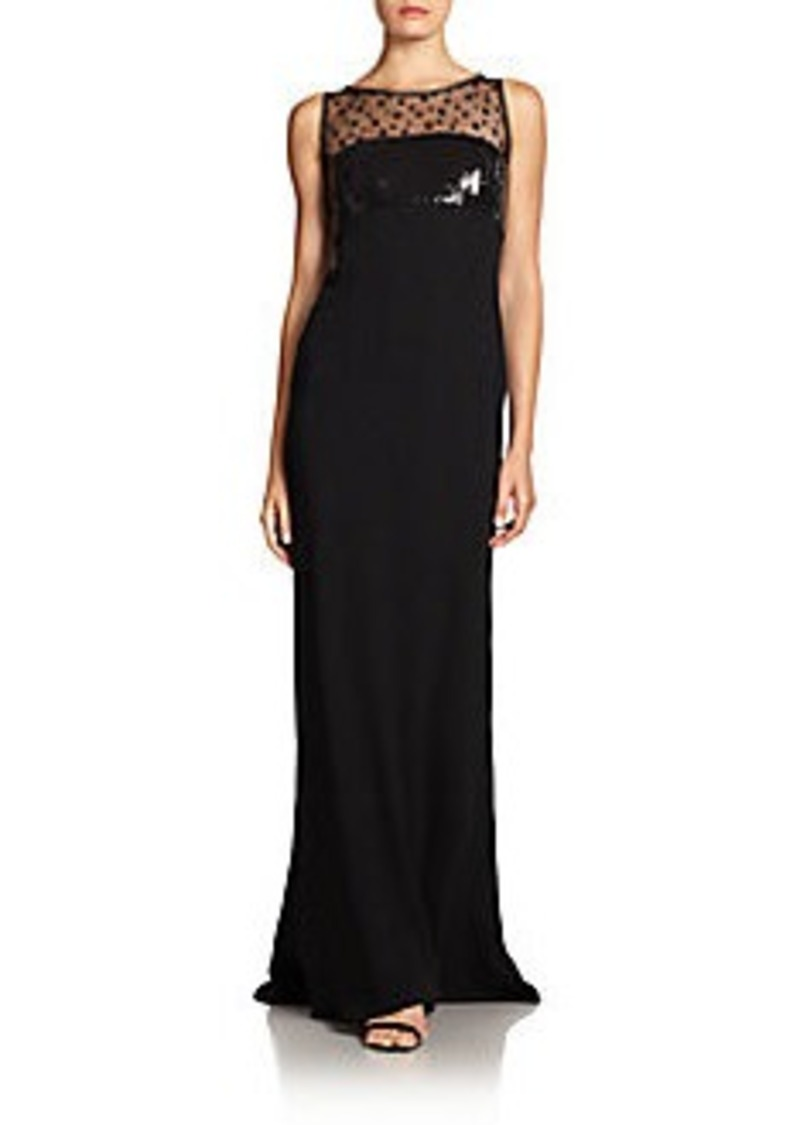 Carmen Marc Valvo Point D'Esprit Lace-Trimmed Gown
