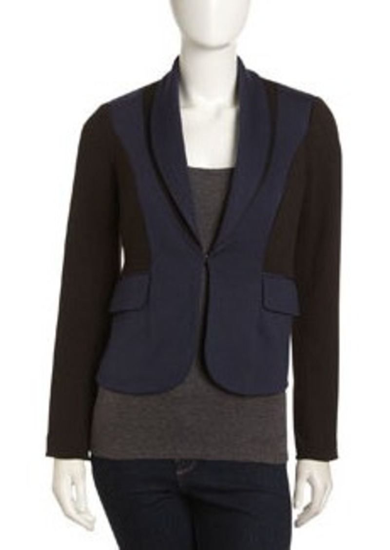 Laundry by Shelli Segal Colorblock Shawl-Collar Jacket, Eclipse/Black