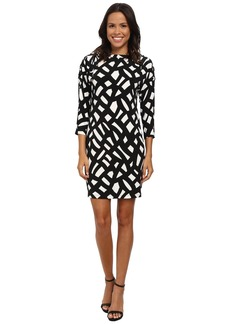 Calvin Klein 3/4 Sleeve Printed Jersey Dress