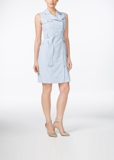 Calvin Klein Belted Asymmetrical-Zip Sheath Dress
