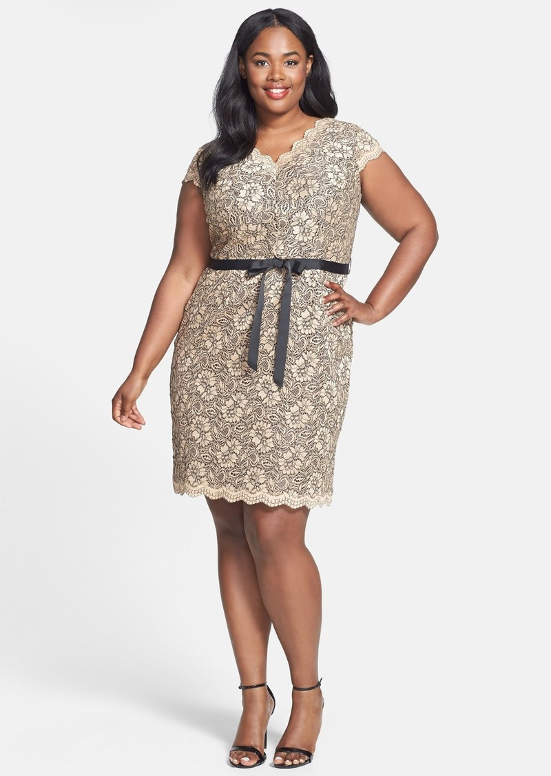 Calvin Klein Belted Cap Sleeve Dress (Plus Size)