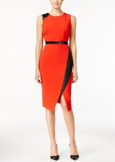 Calvin Klein Belted Colorblocked Sheath Dress