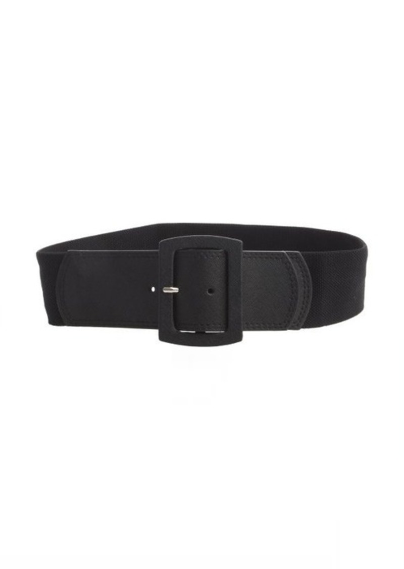 Calvin Klein black crosshatched leather and stretch grosgrain belt