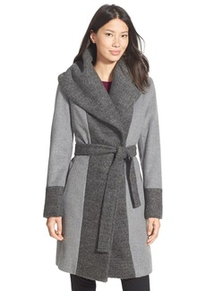 Calvin Klein Bouclé Trim Hooded Wrap Coat