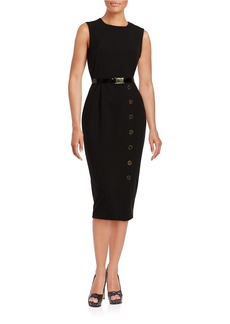 CALVIN KLEIN Button-Accented Sheath Dress