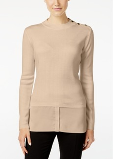Calvin Klein Button-Trim Layered-Look Sweater
