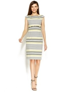 Calvin Klein Cap-Sleeve Belted Striped Sheath