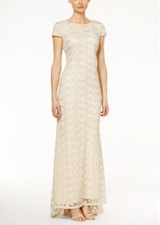 Calvin Klein Cap-Sleeve Embroidered Lace Gown