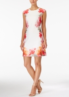 Calvin Klein Cap-Sleeve Floral-Print Sheath Dress