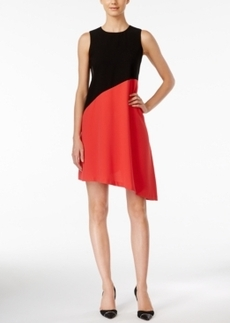 Calvin Klein Colorblocked Asymmetrical Shift Dress