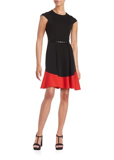 CALVIN KLEIN Colorblocked Fit-and-Flare Dress