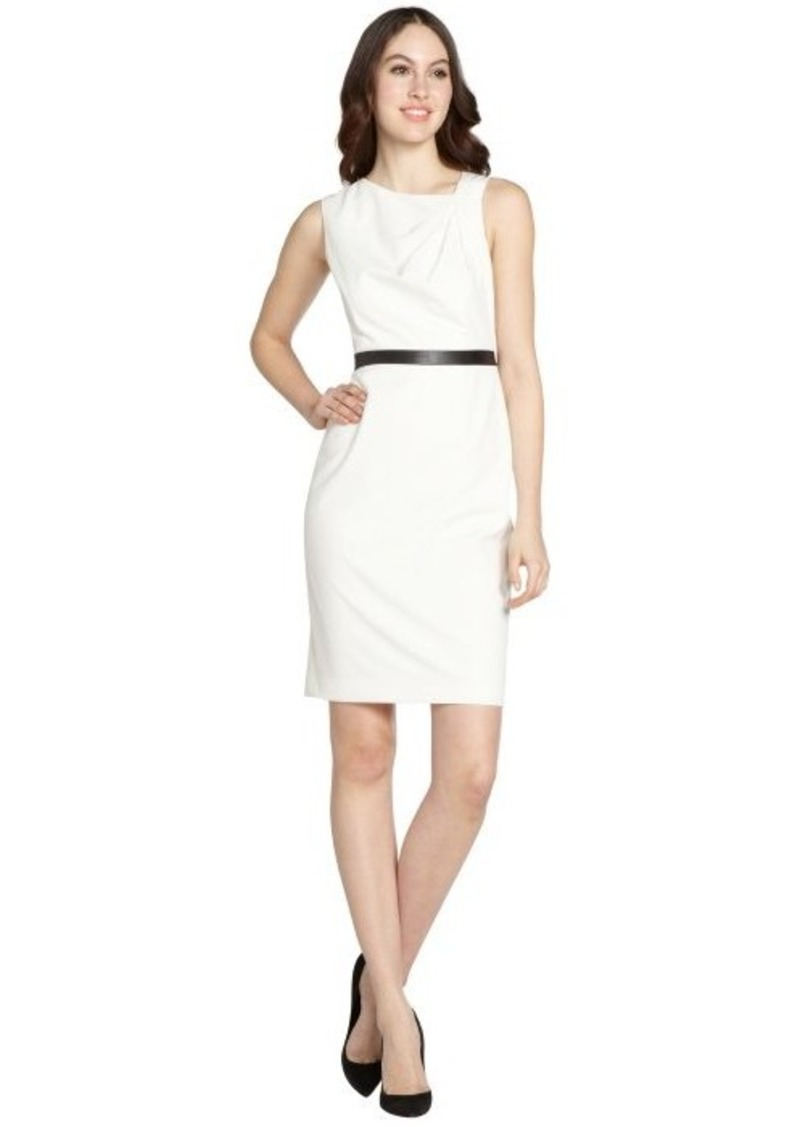 Calvin Klein cream sleeveless dress with black waistband