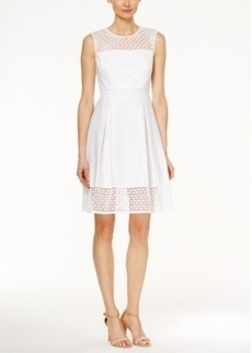 Calvin Klein Crochet Sleeveless Fit & Flare Dress