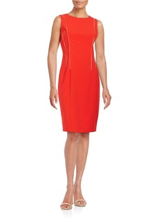 CALVIN KLEIN Exposed Zipper Sleeveless Sheath Dress