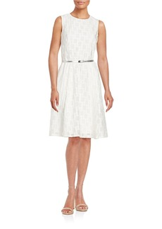 CALVIN KLEIN Eyelet Fit and Flare Dress