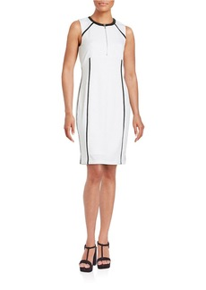 CALVIN KLEIN Faux Leather-Trimmed Sheath Dress