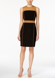Calvin Klein Faux-Suede Colorblocked Sheath Dress