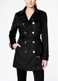 Calvin Klein Faux-Suede Double-Breasted Trench Coat
