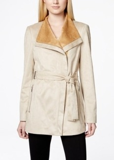 Calvin Klein Faux-Suede Wrap Trench Coat