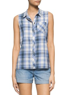 CALVIN KLEIN JEANS Gradient Plaid Button Tank