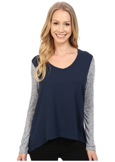 Calvin Klein Jeans Long Sleeve Woven Knit Mix Top