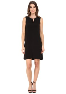Calvin Klein Jersey Flared Dress w/ Chain at Neckline