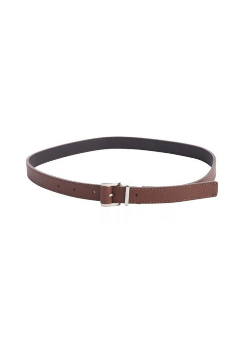 Calvin Klein khaki faux leather 'Saffiano' medium reversible belt
