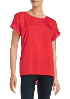 CALVIN KLEIN Lace-Trim Short-Sleeve Top