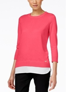 Calvin Klein Layered-Look Three-Quarter-Sleeve Sweater