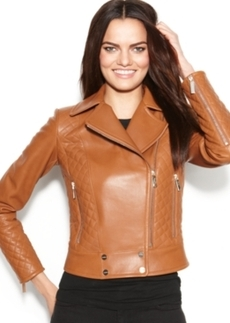 Calvin Klein Leather Quilted Asymmetrical Moto Jacket