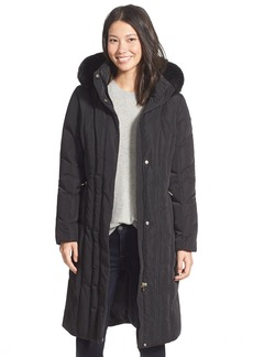 Calvin Klein Long Down & Feather Fill Coat with Removable Faux Fur Trim Hood