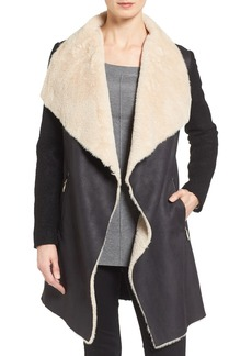 Calvin Klein Mixed Media Coat with Faux Shearling Front