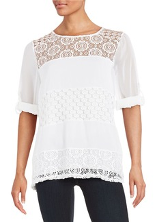 CALVIN KLEIN Mixed-Media Lace Tunic