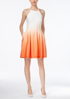 Calvin Klein Ombre Fit & Flare Halter Dress