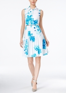 Calvin Klein Pleated Floral-Print Shirtdress
