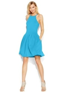 Calvin Klein Pleated Scuba Halter Dress