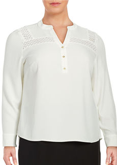 CALVIN KLEIN PLUS Plus Embroidered Split-Neck Blouse