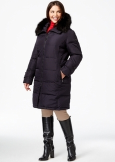 Calvin Klein Plus Size Hooded Faux-Fur-Trim Quilted Down Puffer Coat