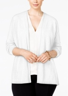 Calvin Klein Plus Size Pleated Georgette-Back Cardigan