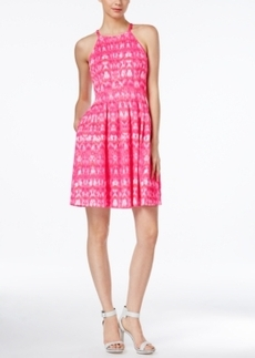 Calvin Klein Printed Halter Fit & Flare Dress
