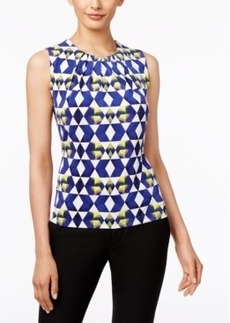 Calvin Klein Printed Sleeveless Pleat-Neck Top