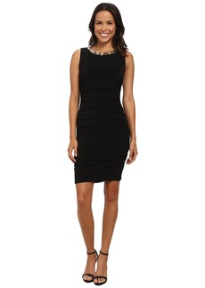 Calvin Klein Ruched Jersey Dress w/ Hardware at Neckline