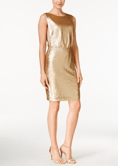 Calvin Klein Sequined Blouson Sheath Dress