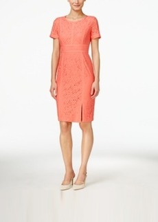 Calvin Klein Short-Sleeve Floral-Lace Sheath Dress