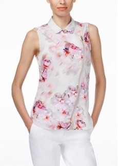 Calvin Klein Sleeveless Asymmetrical-Zip Moto Blouse